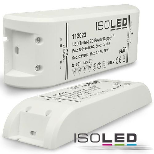Isoled LED-Trafo 24V 0-75W